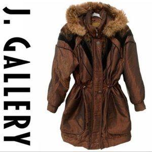 VTG J Gallery Cinched Waist Puffer Ski Jacket Fur